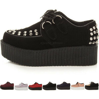 Womens Ladies Flat Double Platform Wedge Lace Up Punk Goth Creepers Shoes Size • 23.99£