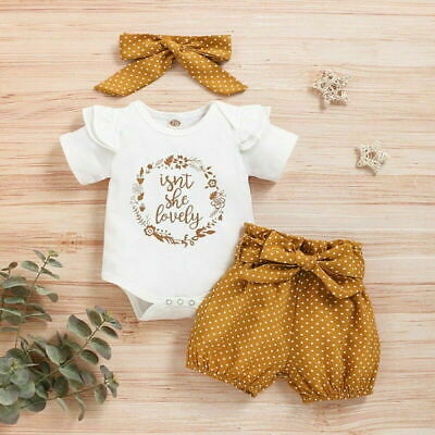 AU18.48 • Buy Newborn Baby Girl Romper Tops Jumpsuit Polka Dot Shorts Headband Outfits Clothes