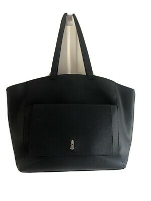 Hobbs Black Extra Large Saffiano Leather Shoulder Bag Smart Office Formal City • 49£