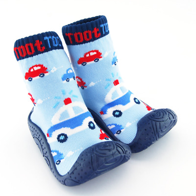 Baby Slipper Socks With Grips For Toddlers. Police Cars In Navy Blue For Boys • 7.99£