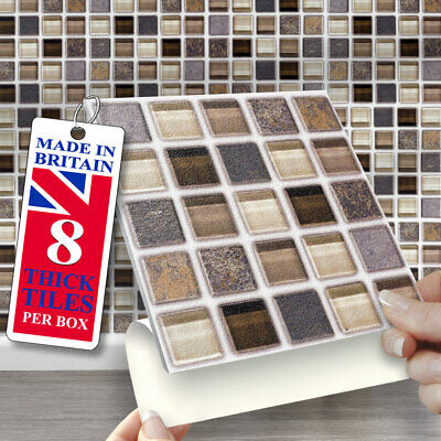 £12.99 • Buy Stick On Wall Tiles | Pack Of 8 Stone Glass Self Adhesive Wall Tiles 6 X 6