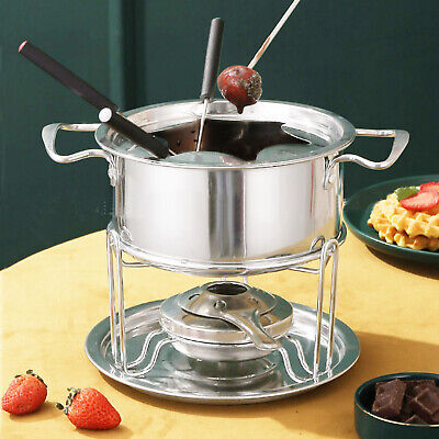 £12.39 • Buy Stainless Steel Cheese Chocolate Fondue Set Melting Pot With 6 Forks Burner New