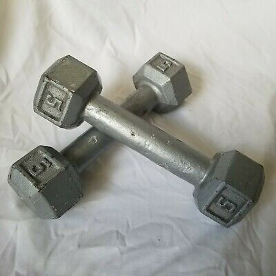 $ CDN40.21 • Buy Pair Of 5 LB Cast-Iron Hex Dumbbells Weights Gym FREE SHIPPING