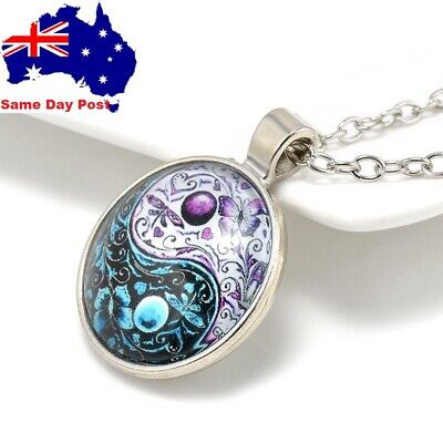 AU6.95 • Buy Vintage Retro Ying Yang Butterfly Cabochon Glass Pendant Silver Chain Necklace