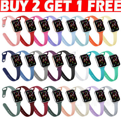 AU6.99 • Buy For Apple Watch Band Series 6 5 4 3 2 Sport Silicone Strap Bracelet SLIM 40/44mm