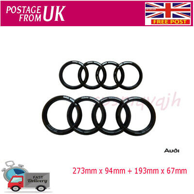 Set Front & Rear Grille Badge Rings Logo Emblem Black Gloss For Audi A3 A4 A5 A6 • 15.99£