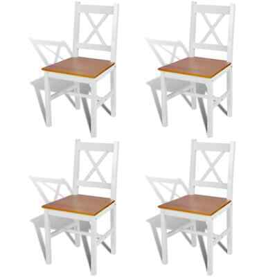 AU264.95 • Buy White Dining Chairs Set Of 4 Kitchen Chair Furniture Solid Pine Wood Frame Seat