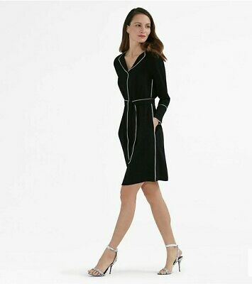 $ CDN147.67 • Buy Mm Lafleur Lola Dress Black White Midi Long Sleeve Belted Small