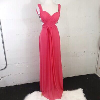 £64.81 • Buy La Femme Coral Pink Draped Cut Out Chiffon  Beaded Backless Prom Dress Size: 2