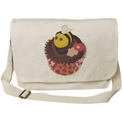 'Bee Cupcake' Cotton Canvas Messenger Bags (MS027132) • 14.99£
