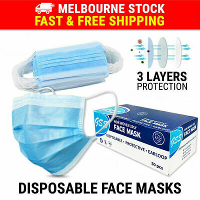 AU13.65 • Buy 50PCS Face Mask 3 Layer Protective Mouth Masks Filter Respirator Daily