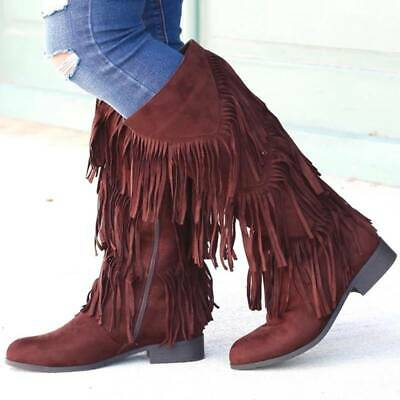 Womens Ankle Riding Fringe Boots Block Heel Stretch Ladies Pull On Booties Size • 19.94£