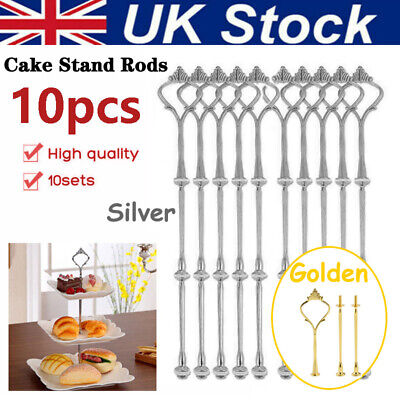 £16.43 • Buy 10 Set 3 Tiers Cake Plate Cupcake Stand Rack Fittings Handle Rod Wedding Party