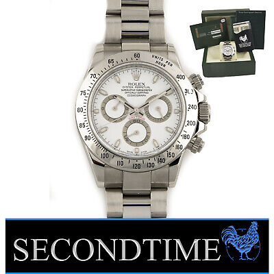 $ CDN26140.74 • Buy Mens Rolex Stainless Steel Daytona Watch Chrono White Dial M Serial Box & Papers