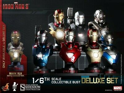 AU349.99 • Buy Marvel Iron Man 3 Deluxe Set Of 8 Sixth Scale Collectable Bust Hot Toys