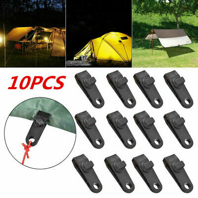 Reusable Windproof Clip Awning Clamp Tarp Clips Snap Hanger Tent Camping 10PCS • 7.99£