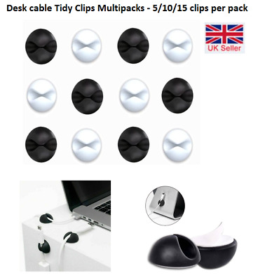 £2.59 • Buy Black Or White Cable Clip Desk Tidy Wire Lead USB Charger Cable Holder UK Seller