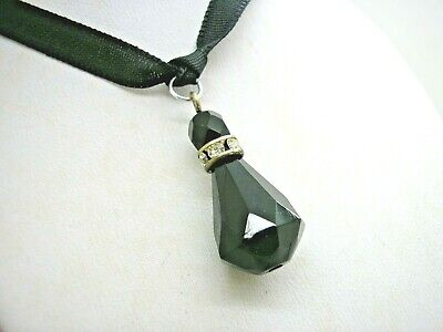 Antique Carved Whitby Jet & White Paste Pendant On Black Ribbon Steam Punk • 15£