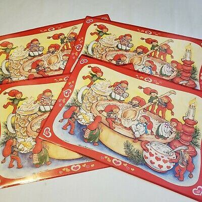 $ CDN44.19 • Buy Vintage 80's Susanna Hartmann Placemats Elves Christmas Holiday Set Of 4