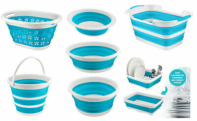 Silicone Collapsible Bowl Folding Basket Washing Basin Bucket Dish Rack Compact • 6.99£