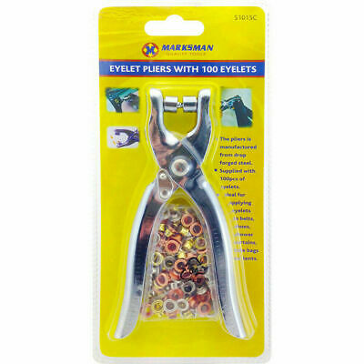 Eyelet Pliers Fabric Punch Canvas Leather Hole Maker With 100 Brass Eyelets • 3.99£