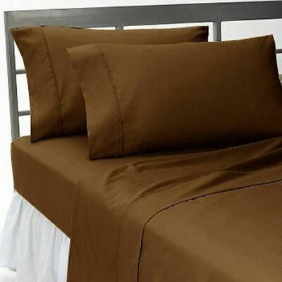Duvet Cover Collection UK Size 1000 Thread Count Egyptian Cotton Chocolate Solid • 74.99£