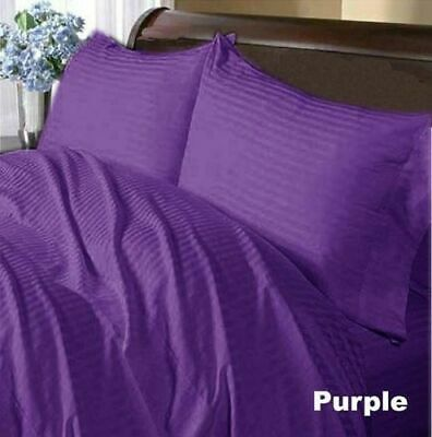 Duvet Cover Collection All UK Size 1000 TC Egyptian Cotton Purple Stripe • 53.99£