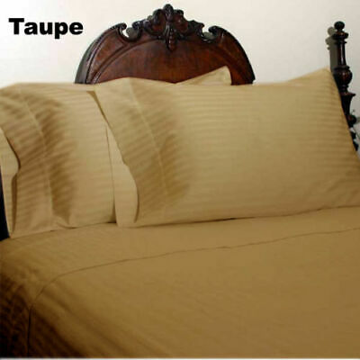 Duvet Cover Collection All UK Size 1000 TC Egyptian Cotton Taupe Stripe • 74.99£