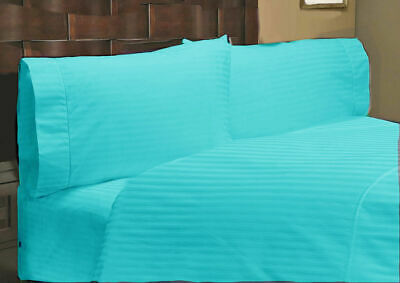 Duvet Cover Collection All UK Size 1000 TC Egyptian Cotton Turquoise Stripe • 53.99£