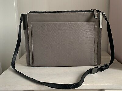 M&s Autograph Grey Leather Snake Print Crossbody Clutch Hand Bag Nwot • 25£