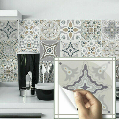 24PCS Moroccan Style Tile Wall Stickers Kitchen Bathroom Self-Adhesive Mosaic UK • 9.99£
