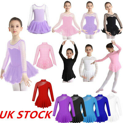 UK_Girls Ballet Dance Dress Leotard Kids Gym Skating Bodysuit Ballerina Costume • 11.55£