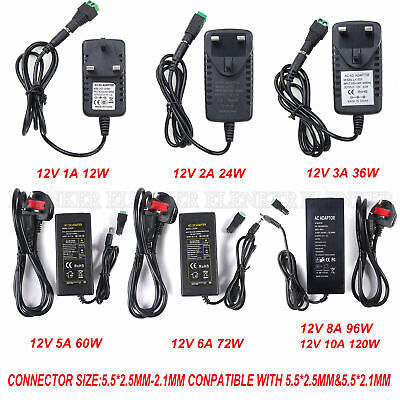 12V 1-10A AC/DC UK Power Supply Adapter Safety Charger For LED Strip CCTV Camera • 6.29£