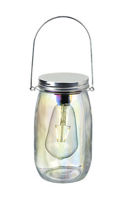 Parlane Glass Jar With LED Edison Bulb With Silver Metal Lid And Handle • 19.99£