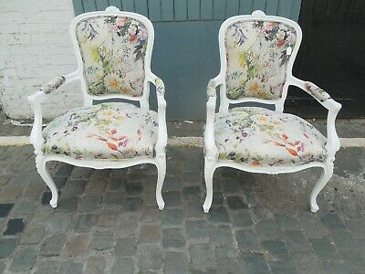 A Pair Of French Styled Painted Chairs In Designers Guild Fabric • 400£