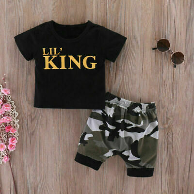 AU15.71 • Buy Newborn Baby Kid Boy KING  Tops T-Shirt Camouflage Shorts Pants Clothes Outfits