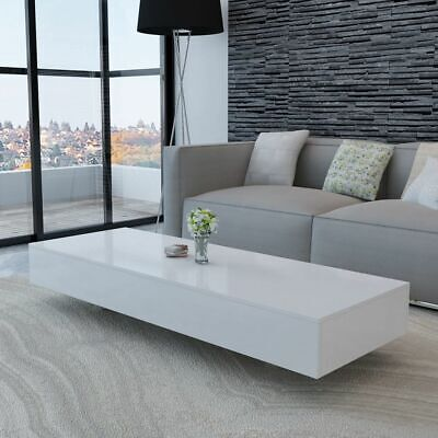 AU213.95 • Buy Rectangular Long Coffee Table High Gloss White Modern Home Living Room Furniture