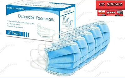 10x,25X,100X Disposable Face Mask Surgical Medical Mouth Nose Cover 3-Ply Masks. • 5.99£