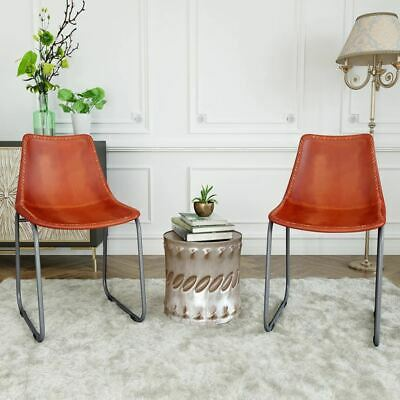 AU247.95 • Buy 2 Pcs Genuine Leather Dining Office Chairs Steel Frame Vintage Style Furniture