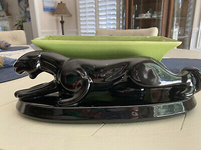$33 • Buy Vintage Haeger Pottery Black Panther Planter Art Deco - Rockabilly Deco