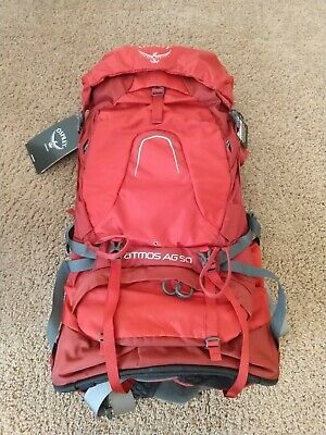 $149 • Buy Osprey Atmos AG 50 Backpack - RED - M - BRAND NEW W/Tags