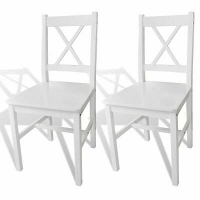 AU133.95 • Buy White Solid Wood Dining Chairs Set Ergonomic Sturdy Seat Kitchen Home Furniture