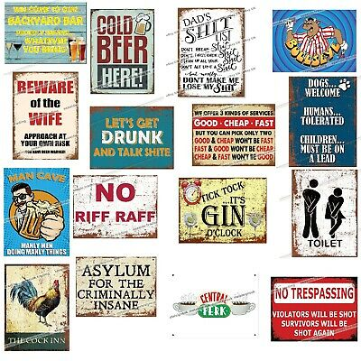 FUNNY Metal Signs Retro Present Man Cave Kitchen Comedy Wall Poster Gift Humour • 4.95£