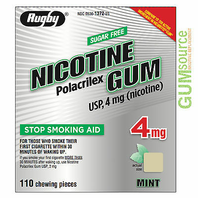 $ CDN0.01 • Buy Rugby Nicotine Gum 4mg Uncoated Mint  1 Box 110 Pieces
