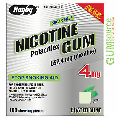 $ CDN1.67 • Buy Rugby Nicotine Gum 4mg Coated Mint  1 Box 100 Pieces