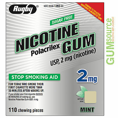 $ CDN0.01 • Buy Rugby Nicotine Gum 2mg Uncoated Mint  1 Box 110 Pieces