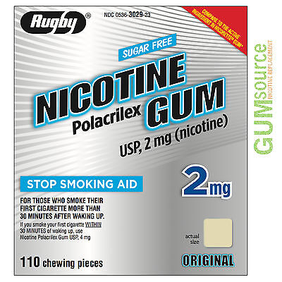 $ CDN0.01 • Buy Rugby Nicotine Gum 2mg Uncoated Original  1 Box 110 Pieces