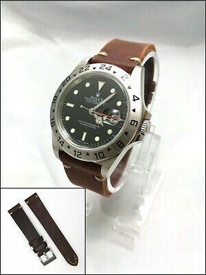Vintage Retro Brown LEATHER STRAP With Stitching For Your Rolex, Omega Tag Heuer • 14.95£