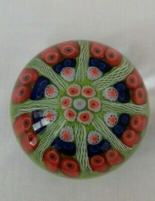 Strathearn Millefiori / Latticino Glass Paperweight. 8 Spoke Cartwheel Design. • 26£