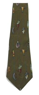 $15.95 • Buy Vintage 1995 Nicole Miller100%Silk Hand Sewn Olive Tie Fishing Lures Free Ship